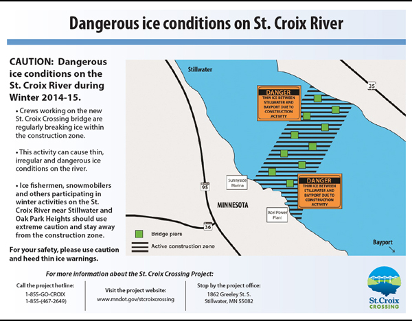 thin ice warning St. Croix River Crossing